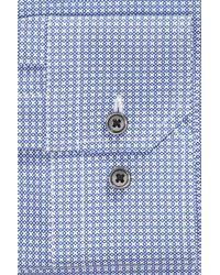 Calibrate - Blue Trim Fit Stretch Non-iron Geometric Dress Shirt for Men - Lyst