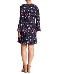 Derek Heart - Blue Floral Bell Sleeve Dress (plus Size) - Lyst