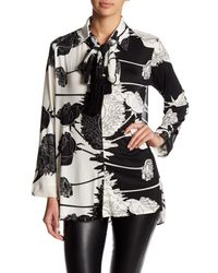 Analili - Black Self-tie Floral Blouse - Lyst