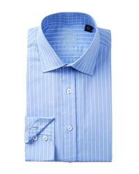English Laundry | Blue Pencil Stripe Trim Fit Dress Shirt for Men | Lyst