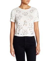 Alice + Olivia | White Short Sleeve Embellished Linen Crop Top | Lyst