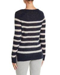 Pam & Gela | Blue Striped Buttoned Alpaca Blend Pullover Sweater | Lyst