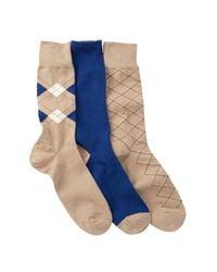 Cole Haan | Blue Argyle & Stripe Crew Socks - Pack Of 3 for Men | Lyst
