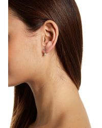 Nadri - Brown Dainty Cz Simulated Pearl Ear Jacket Earrings - Lyst