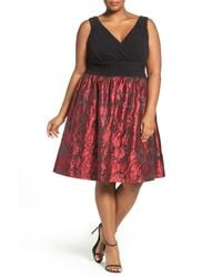 Adrianna Papell - Red Fit & Flare Party Dress (plus Size) - Lyst