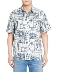 Quiksilver | White 'angler' Regular Fit Print Camp Shirt for Men | Lyst