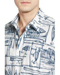 Quiksilver - Blue 'angler' Regular Fit Print Camp Shirt for Men - Lyst