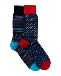 Bugatchi - Blue Assorted Printed Socks - Pack Of 2 for Men - Lyst