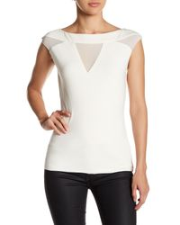 Fate - White Sleeveless Front V-cutout Blouse - Lyst