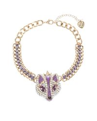 Betsey Johnson | Purple Rhinestone Accented Fox Princess Necklace | Lyst