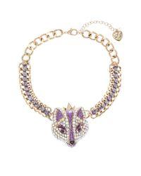 Betsey Johnson | Purple Rhinestone Accented Fox Princess Necklace | Lyst