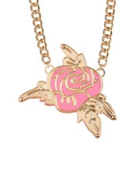 Betsey Johnson - Pink Rose Frontal Pendant Necklace - Lyst