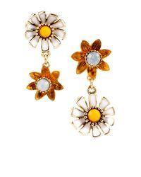 Betsey Johnson | Metallic Flower Child Daisy Flower Mismatched Drop Earrings | Lyst