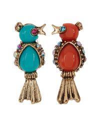 Betsey Johnson | Multicolor Mismatched Bird Stud Earrings | Lyst