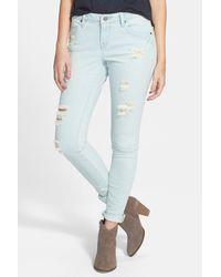 Volcom | Blue Distressed Super Skinny Jean | Lyst