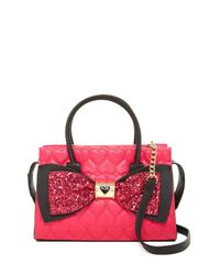 Betsey Johnson | Multicolor Quilted Heart Sequin Bow Shoulder Bag | Lyst