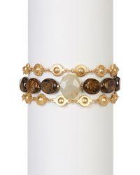 Chan Luu   Multicolor Faceted Bronzite & Rutilated Quartz Beads & Sun Link Bracelet   Lyst