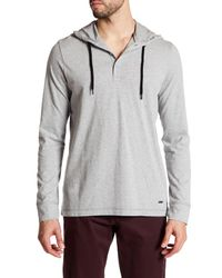 Bench | Gray Hooded Henley Tee for Men | Lyst