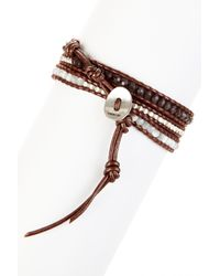 Chan Luu - Multicolor Mixed Semi-precious Gemstone & Nugget Beaded Leather Wrap Bracelet - Lyst