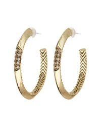 House of Harlow 1960 - Metallic Pave Crystal Hoop Earrings - Lyst