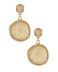 Vince Camuto - Metallic Hammered Medallion Pave Double Drop Earrings - Lyst