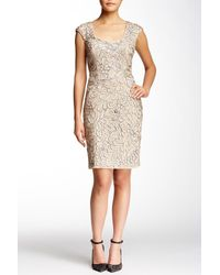 Sue Wong - Natural Embroidered Cap Sleeve Dress - Lyst