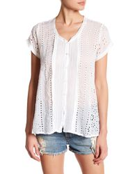 Johnny Was - White Short Sleeve Embroidered Button Up Shirt - Lyst