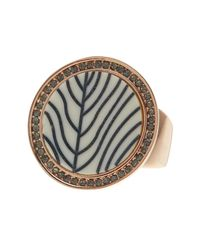Vince Camuto | Metallic Pave Halo Embossed Inlay Ring - Size 7-8 | Lyst