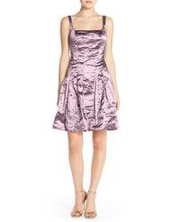 Nicole Miller | Purple Techno Metal Fit & Flare Dress | Lyst