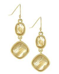 Cole Haan | Metallic 12k Gold Plated Double Drop Stone Earrings | Lyst