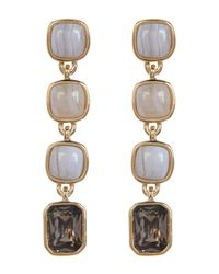 Cole Haan | Multicolor 12k Gold Plated Semi-precious Stone Linear Drop Earrings | Lyst