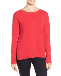 Caslon | Red Back Zip High/low Sweater | Lyst
