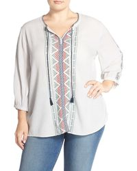 Caslon - Gray Embroidered Boho Blouse (plus Size) - Lyst