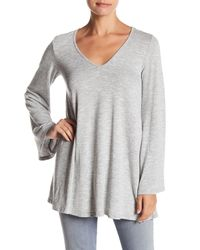 Honey Punch - Gray Bell Sleeve V-neck Sweater - Lyst