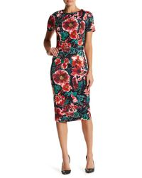 Alexia Admor | Multicolor Crew Neck Floral Sheath Midi Dress | Lyst