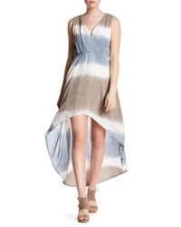 Peach Love California - Blue Ombre Surplice Hi-lo Dress - Lyst