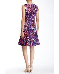 Donna Morgan | Purple Sleeveless Abstract Pique Flippy Skirt Dress | Lyst