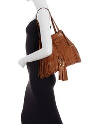 Frye | Gray Heidi Fringe Leather Bucket Bag | Lyst