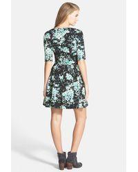 Mimi Chica - Blue Floral Print Skater Dress (juniors) - Lyst
