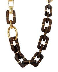 Diane von Furstenberg | Brown Large Wood Chain Link Necklace | Lyst