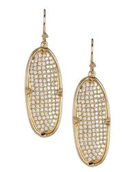 Melinda Maria - Metallic Orion Pave Cz Oval Drop Earrings - Lyst