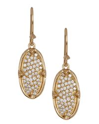 Melinda Maria | Metallic 14k Gold Plated Orion Pave White Cz Oval Drop Earrings | Lyst