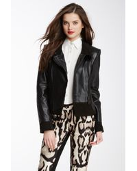 Vince Camuto | Black Leather Funnel Neck Moto Jacket | Lyst