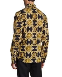 Versace   Black Printed Long Sleeve Trim Fit Woven Shirt for Men   Lyst
