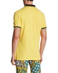 Versace | Yellow Stripe Trim Polo for Men | Lyst