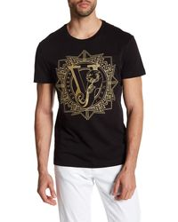 Versace - Black Embroidered Knit Graphic Tee for Men - Lyst