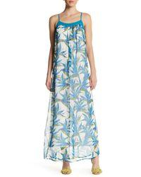 Ella Moss | Blue Floral Silk Maxi Dress | Lyst