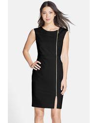 Ellen Tracy | Black Front Zip Crepe Sheath Dress | Lyst