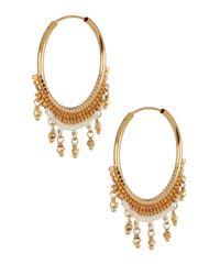 Chan Luu - Metallic Seed Bead Fringe Hoop Earrings - Lyst