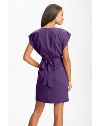 Eliza J - Purple Drape Sleeve Sash Belt Dress - Lyst